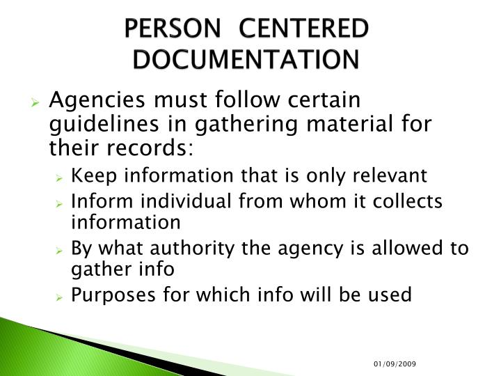 Person centered documentation