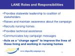 lane roles and responsibilities