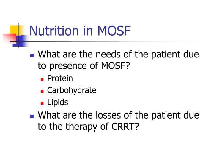 Nutrition in mosf