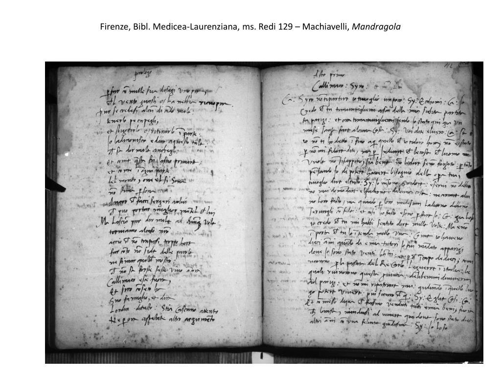 Firenze, Bibl. Medicea-Laurenziana, ms. Redi 129 – Machiavelli,