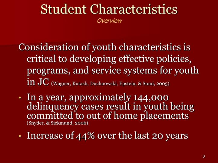 Student characteristics overview