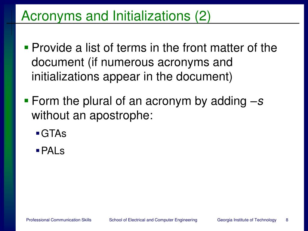 Acronyms and Initializations (2)