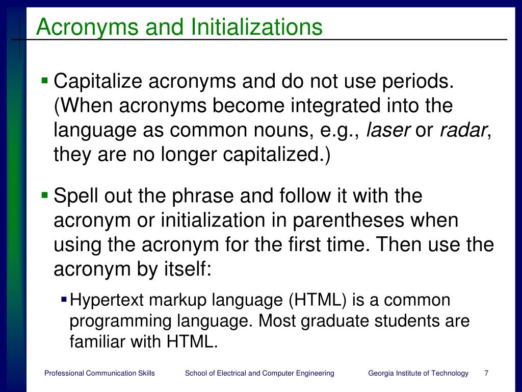 Acronyms and Initializations