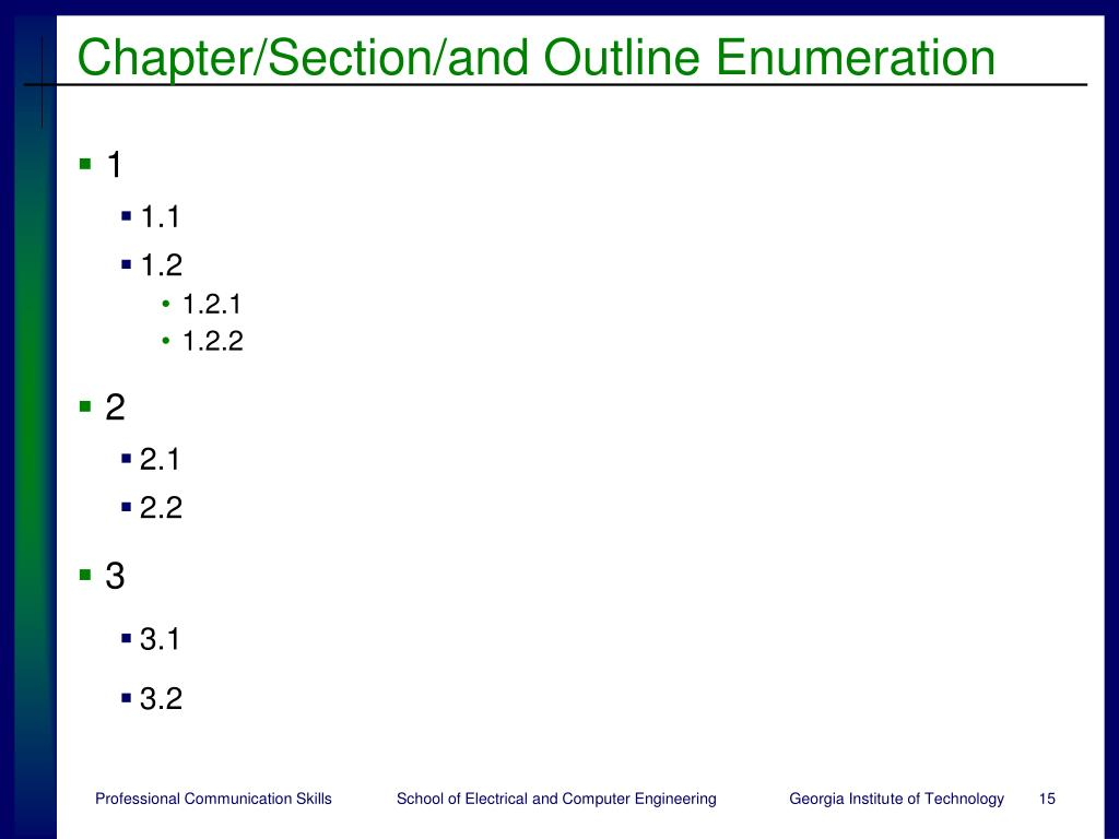Chapter/Section/and Outline Enumeration