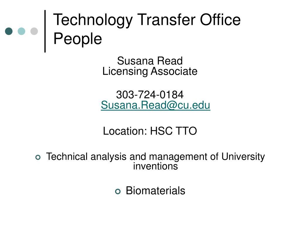 Technology Transfer Office People
