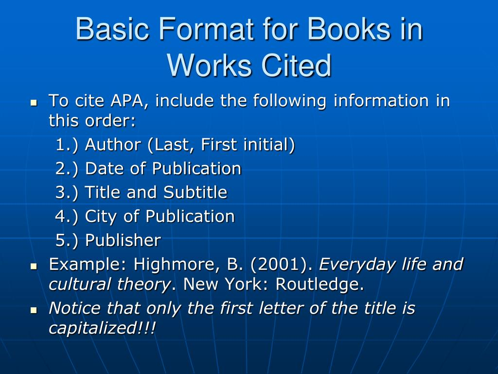 Basic Format for Books in Works Cited