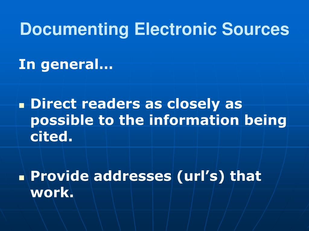 Documenting Electronic Sources
