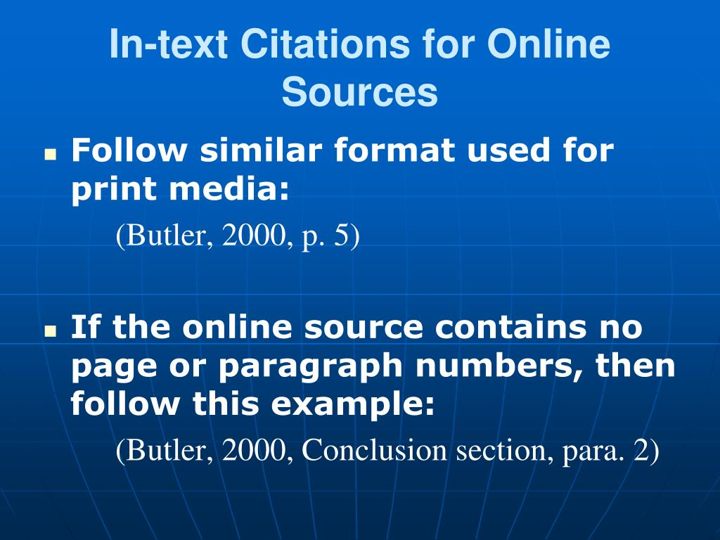 In-text Citations for Online Sources