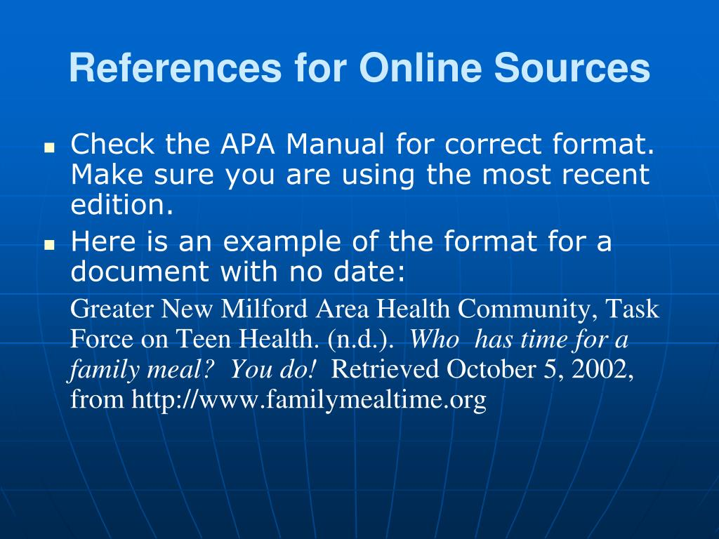 References for Online Sources