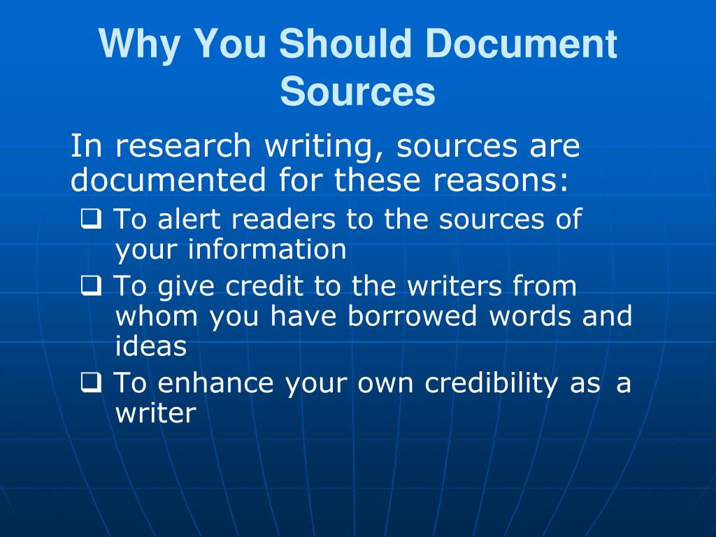 Why You Should Document Sources