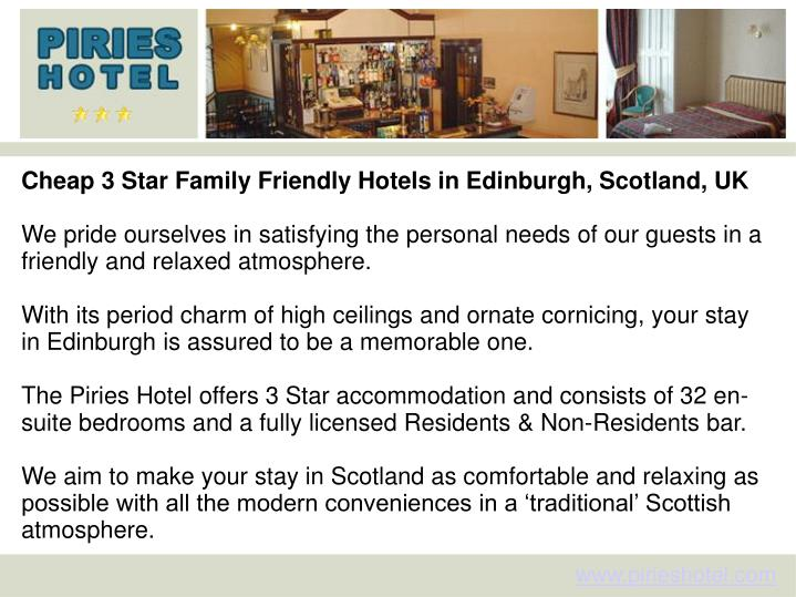 Cheap 3 Star Family Friendly Hotels in Edinburgh, Scotland, UK
