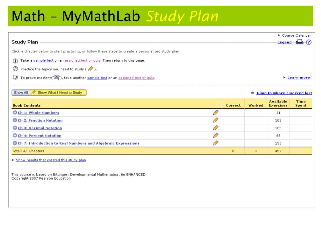 Math – MyMathLab