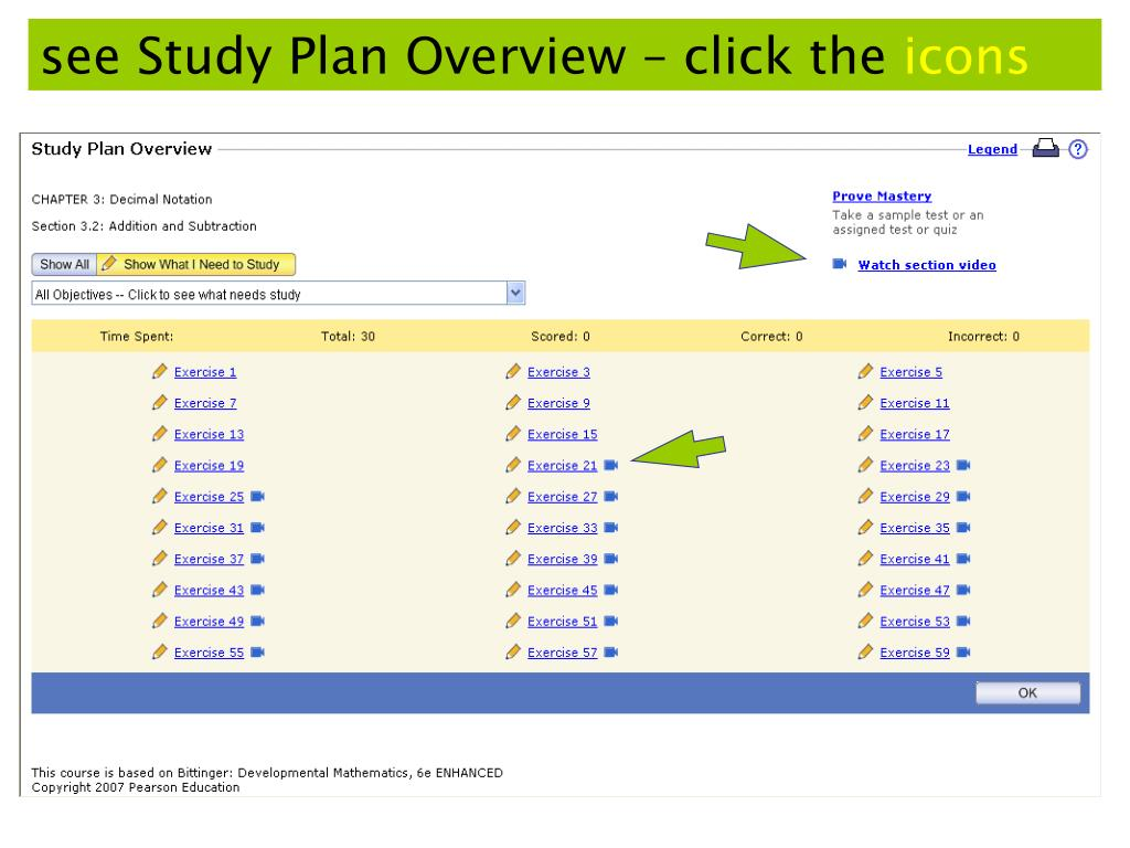 see Study Plan Overview – click the