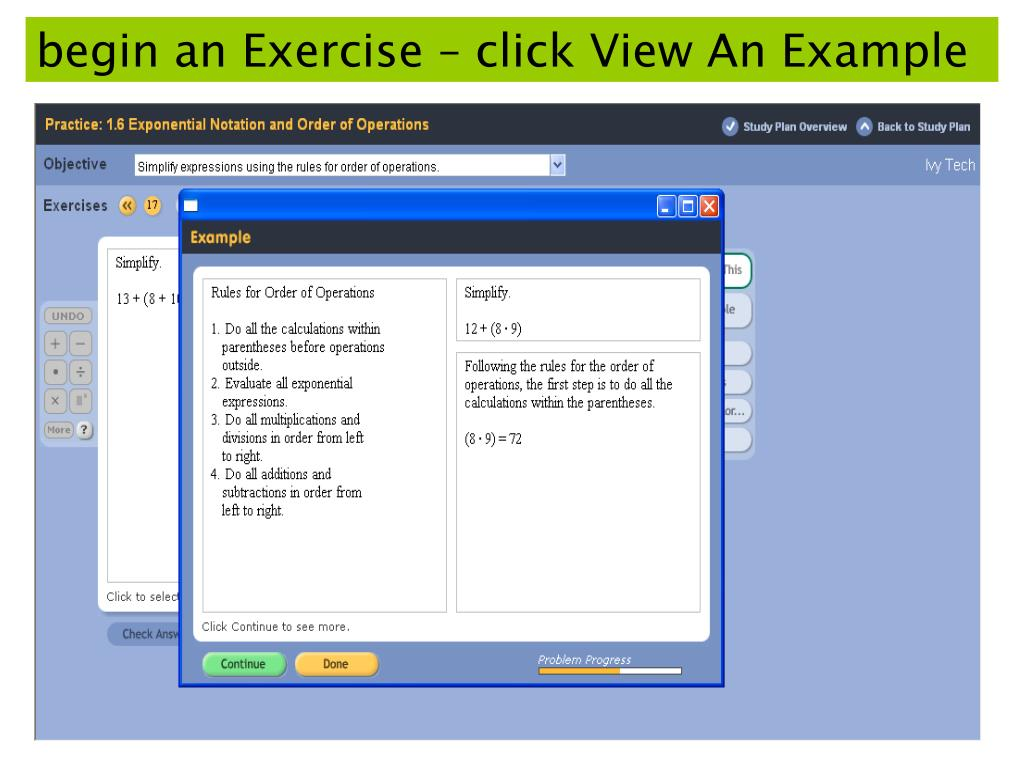 begin an Exercise – click View An Example