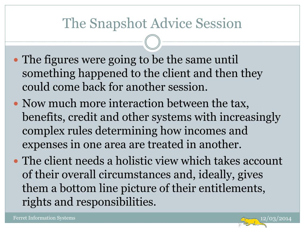 The Snapshot Advice Session