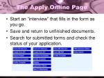 the apply online page