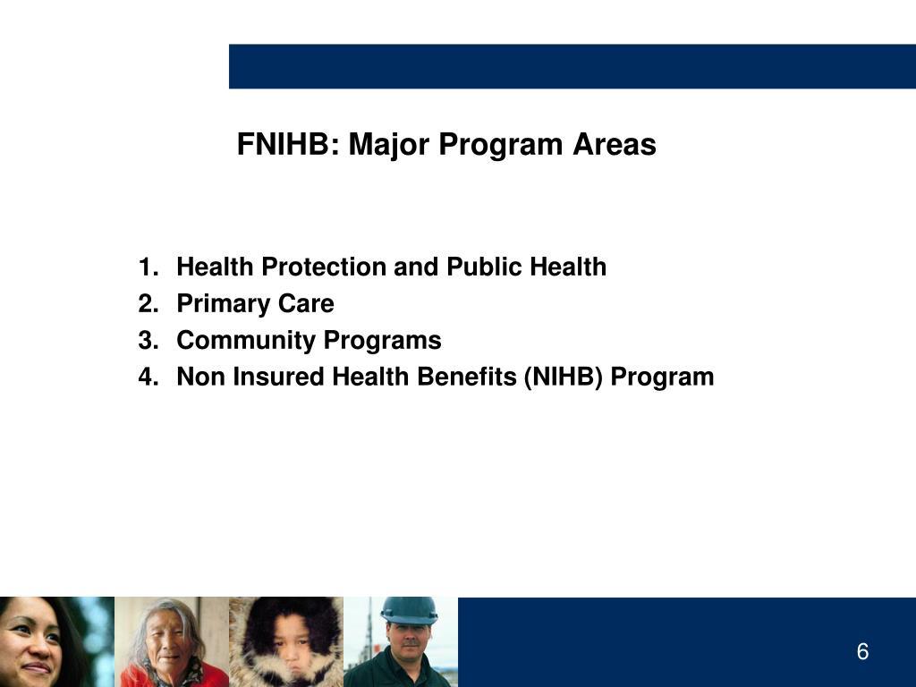 FNIHB: Major Program Areas