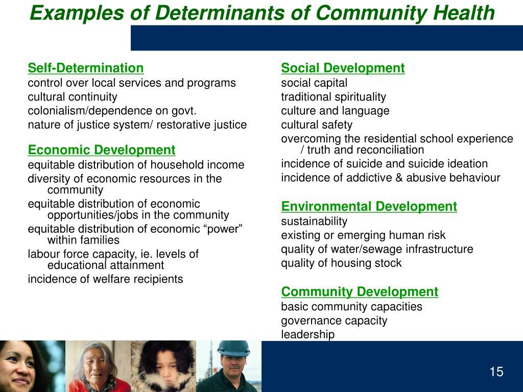 Examples of Determinants of Community Health