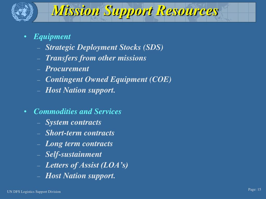 Mission Support Resources