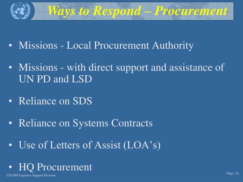 Ways to Respond – Procurement