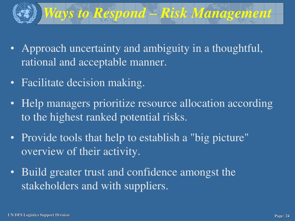 Approach uncertainty and ambiguity in a thoughtful, rational and acceptable manner.