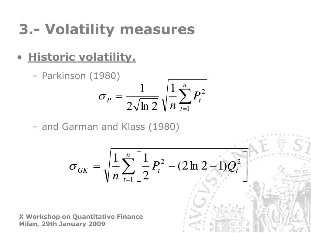 3.- Volatility measures