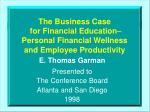 the business case for financial education personal financial wellness and employee productivity