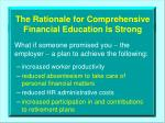 the rationale for comprehensive financial education is strong