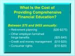 what is the cost of providing comprehensive financial education