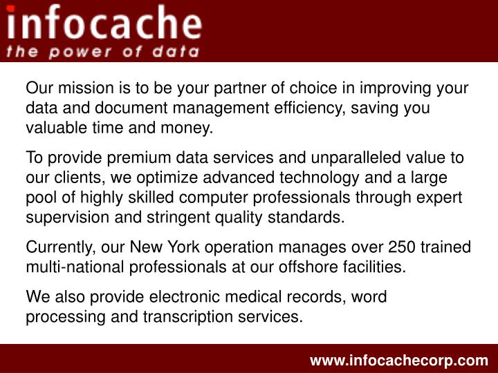 Our mission is to be your partner of choice in improving your data and document management efficienc...