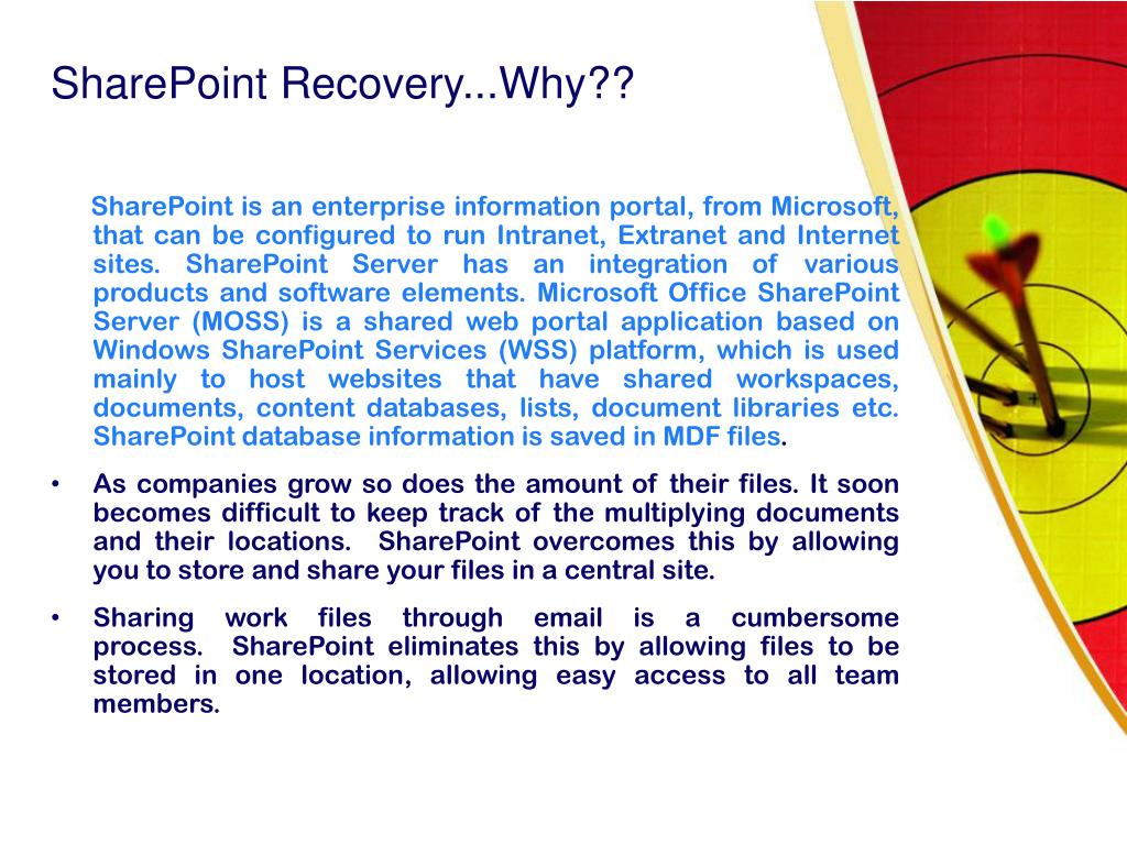 SharePoint Recovery...Why??