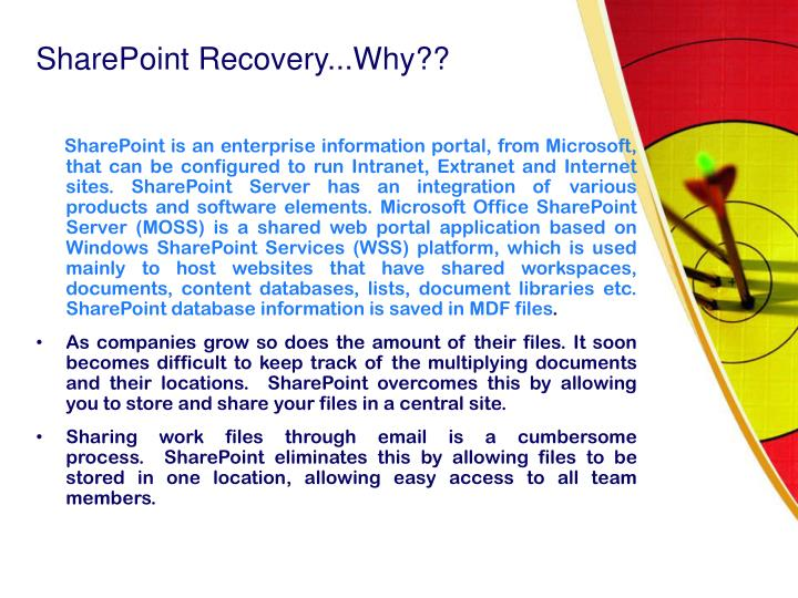 Sharepoint recovery why