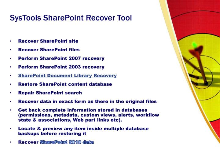 Systools sharepoint recover tool