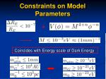 constraints on model parameters
