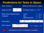 predictions for tests in space