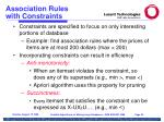 association rules with constraints
