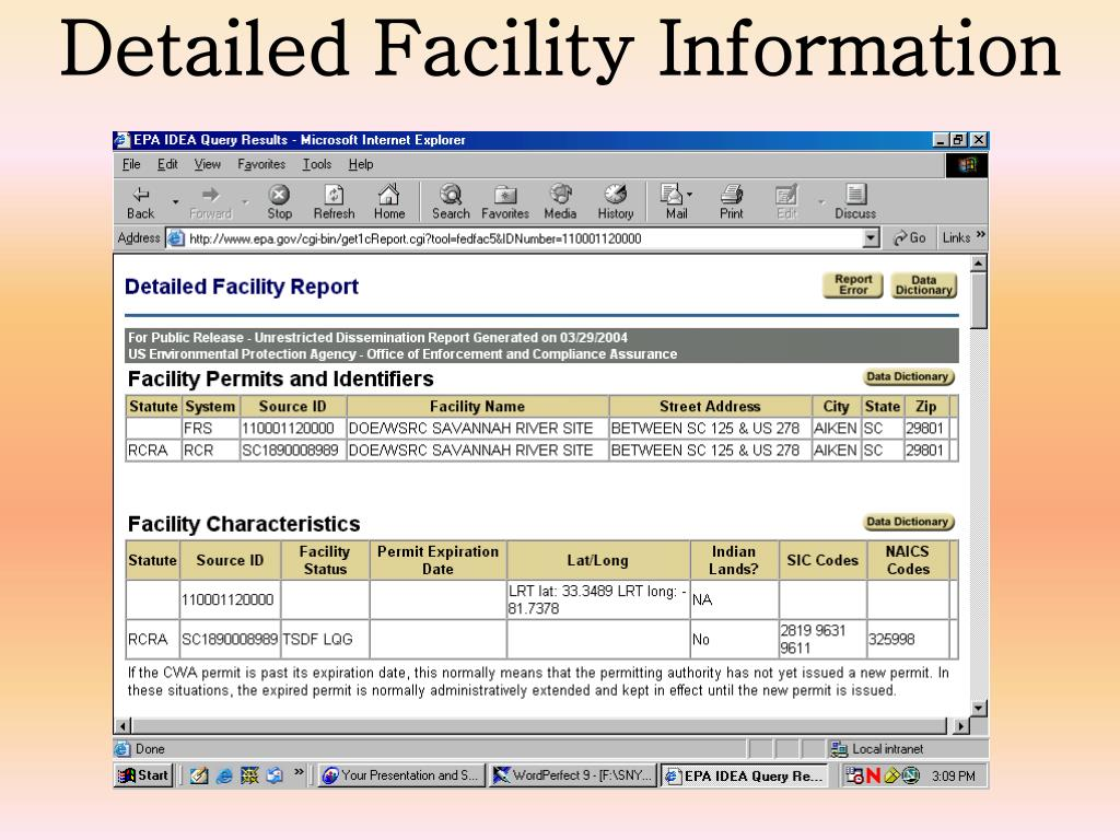 Detailed Facility Information