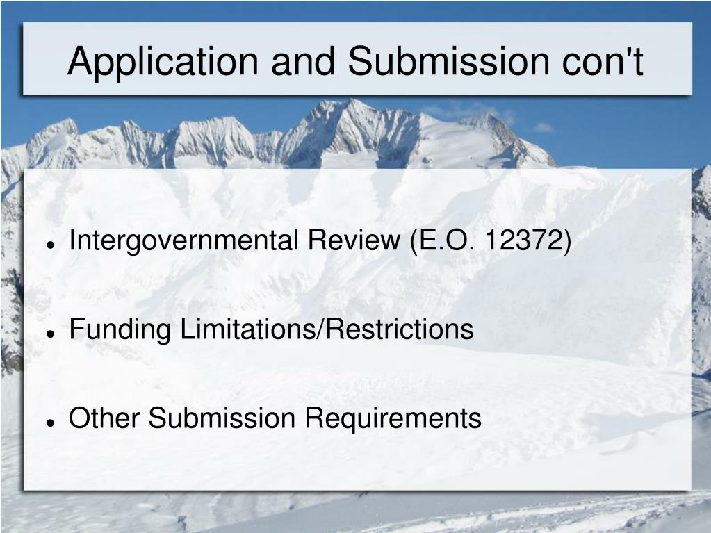 Application and Submission con't