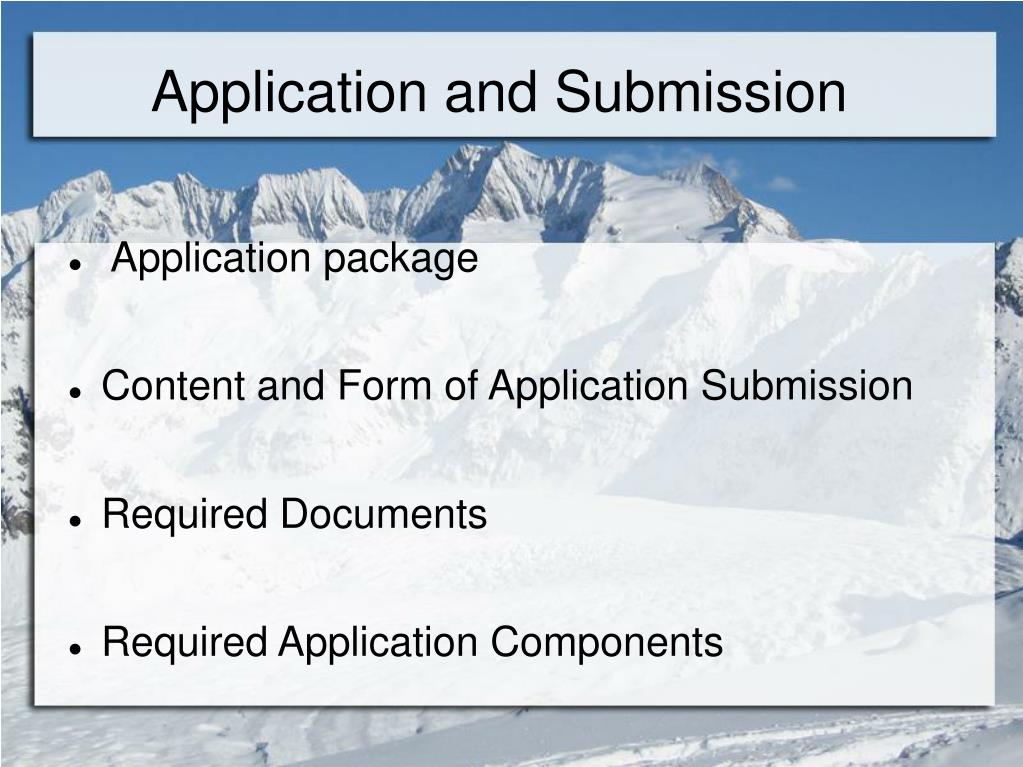 Application and Submission