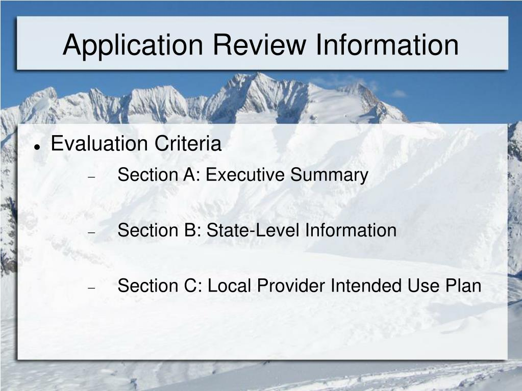 Application Review Information