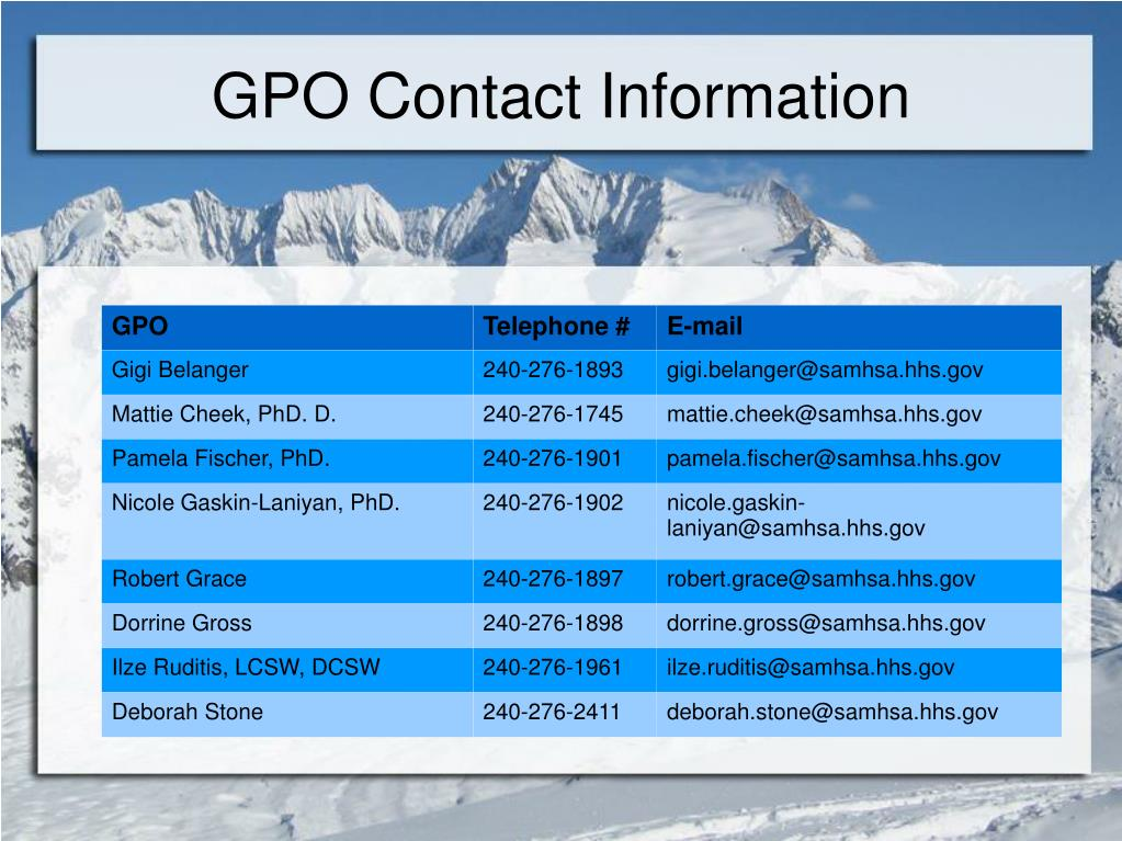 GPO Contact Information
