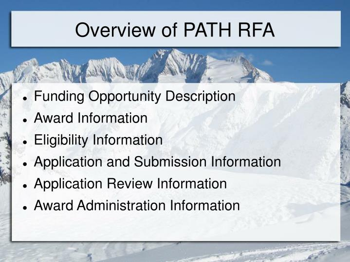 Overview of path rfa