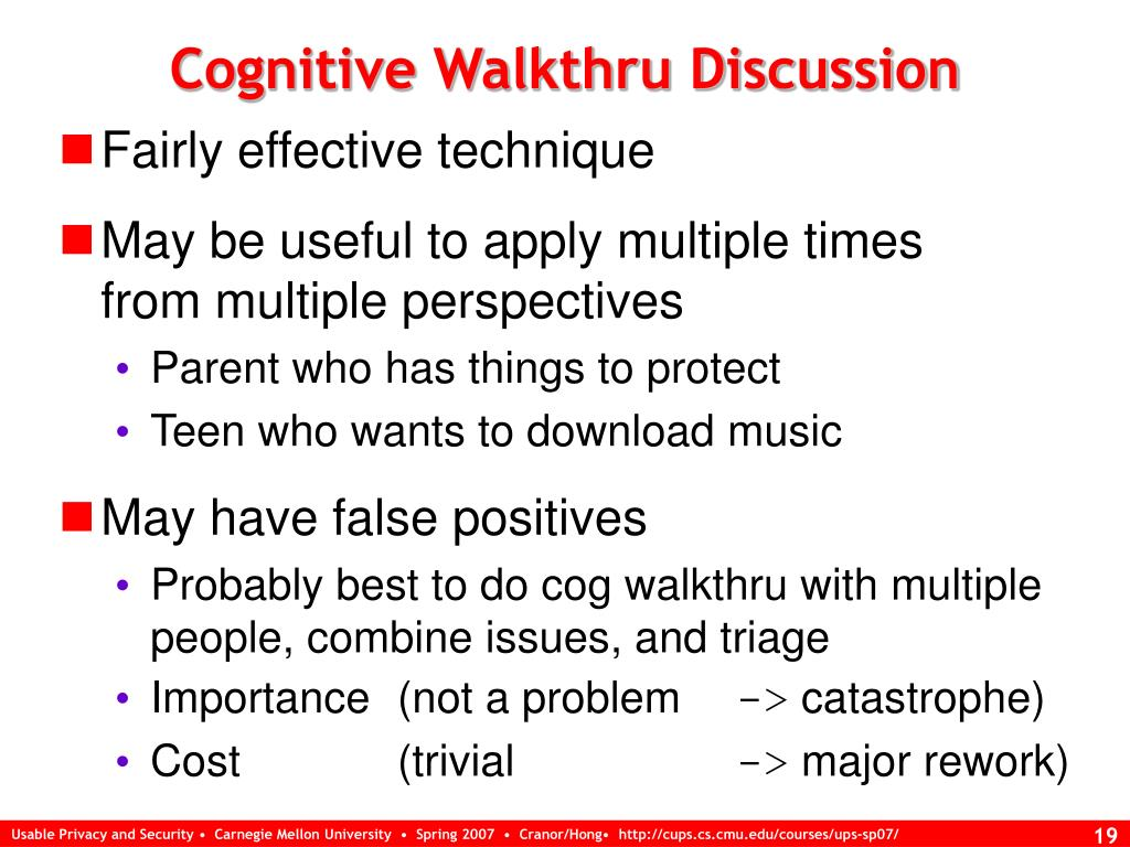Cognitive Walkthru Discussion