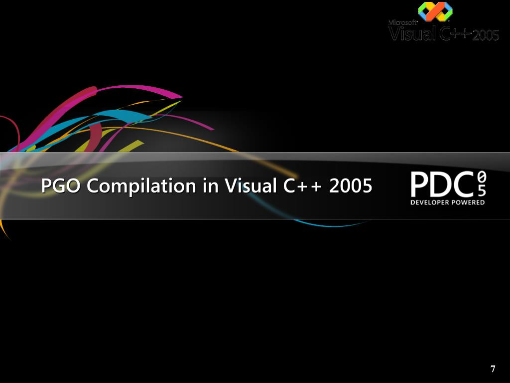 PGO Compilation in Visual C++ 2005