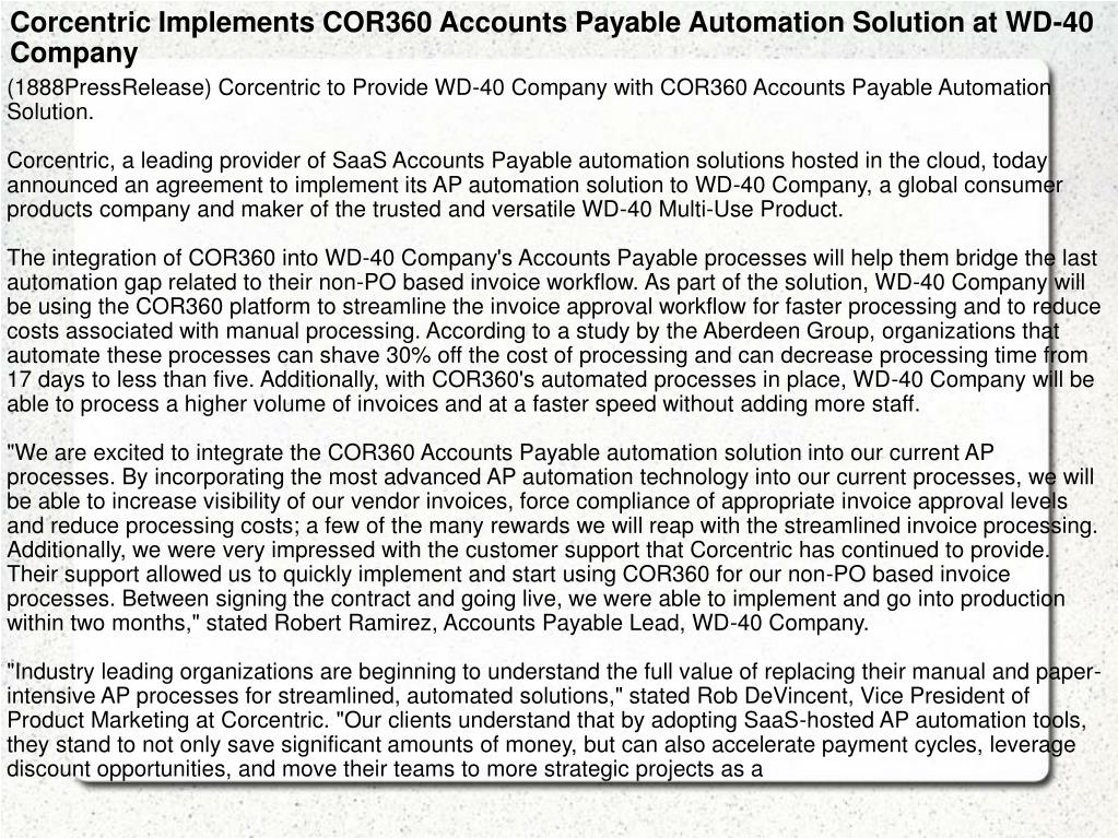 Corcentric Implements COR360 Accounts Payable Automation Solution at WD-40 Company