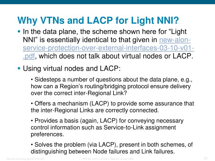 Why VTNs and LACP for Light NNI?
