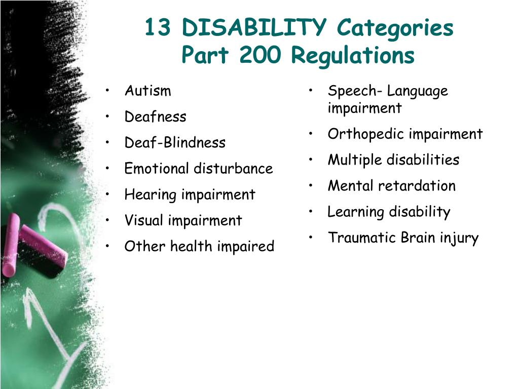 13 DISABILITY Categories