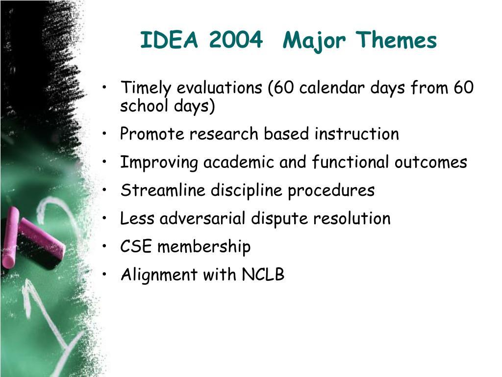 IDEA 2004  Major Themes