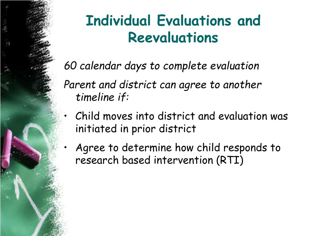 Individual Evaluations and Reevaluations