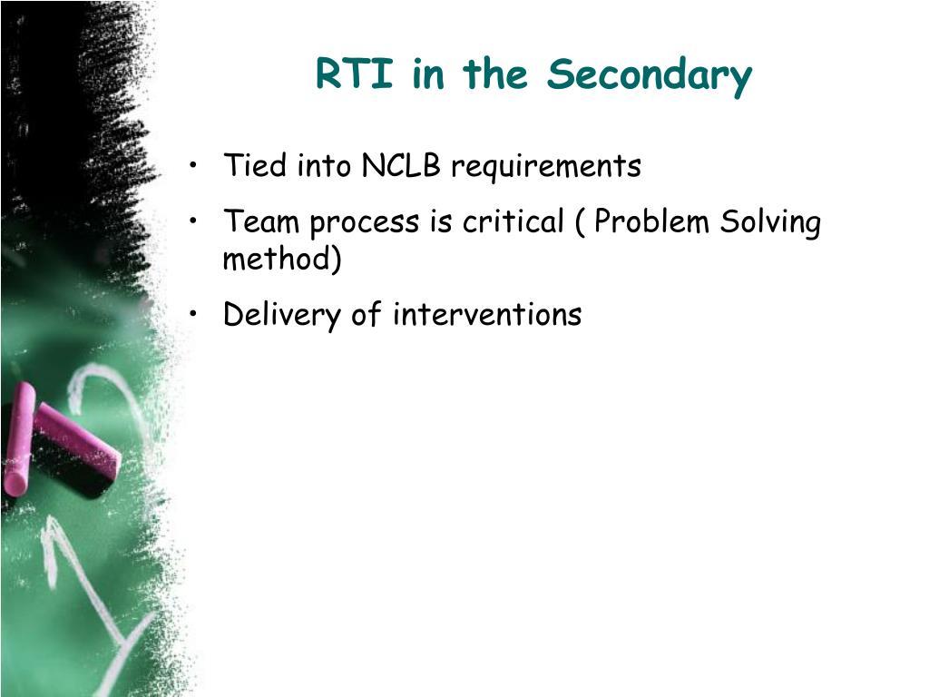RTI in the Secondary